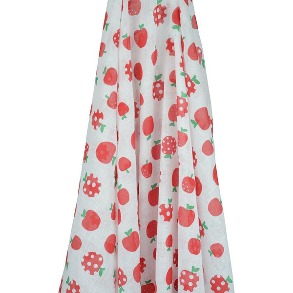 Retro Apple Print inexpensive baby wrap at Shorties - Apples Muslin