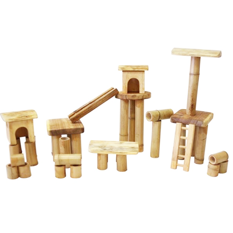 Q Toys Bamboo Building Set With House