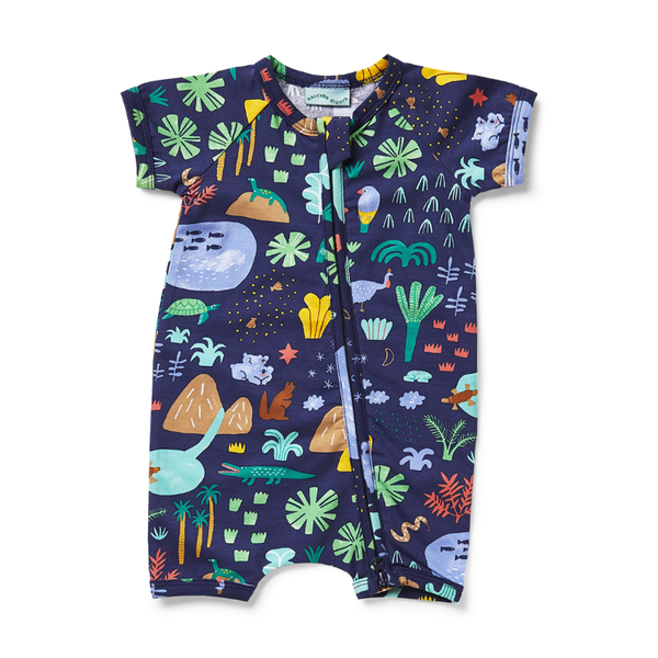 Halcyon Nights SS Zip Suit - Beach Forest