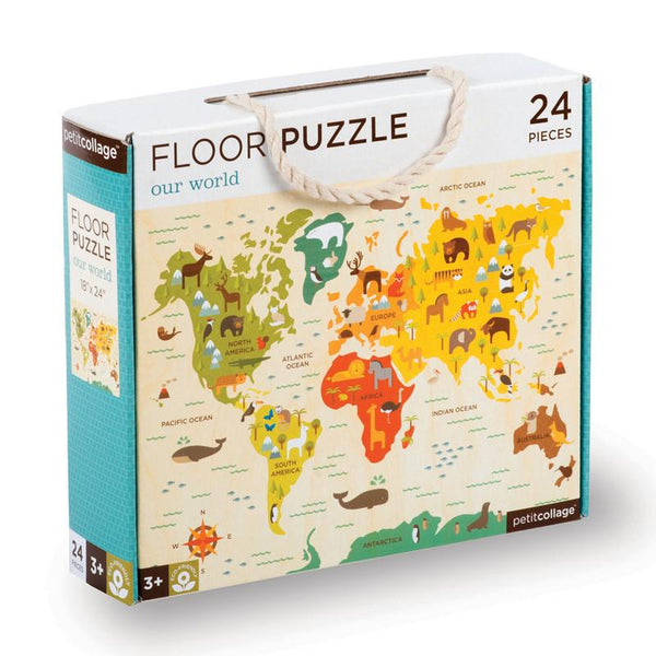 Petit Collage Floor Puzzle - Our World 24 large pieces map of the world in SHorties kids toy shop
