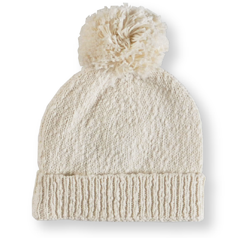 Grown Slub Pom Pom Beanie - Milk