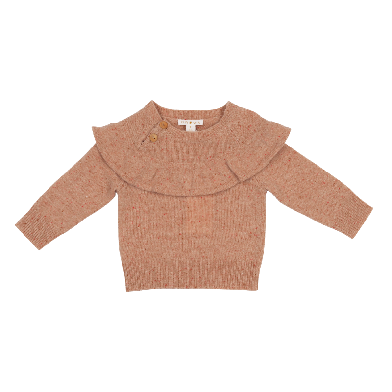 Grown Speckle Merino Frill Pull Over - Coral