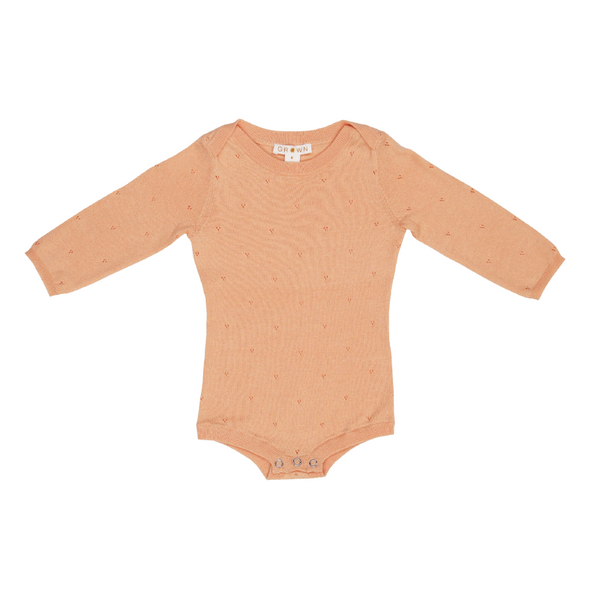 Grown Pointelle Bodysuit - Warm Apricot