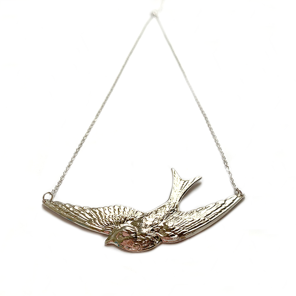 Swallow Necklace Silver - Large