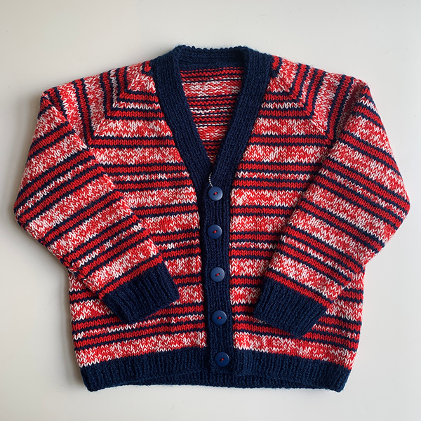 Hand Knit Classic Cardigan - Navy/Red Stripe