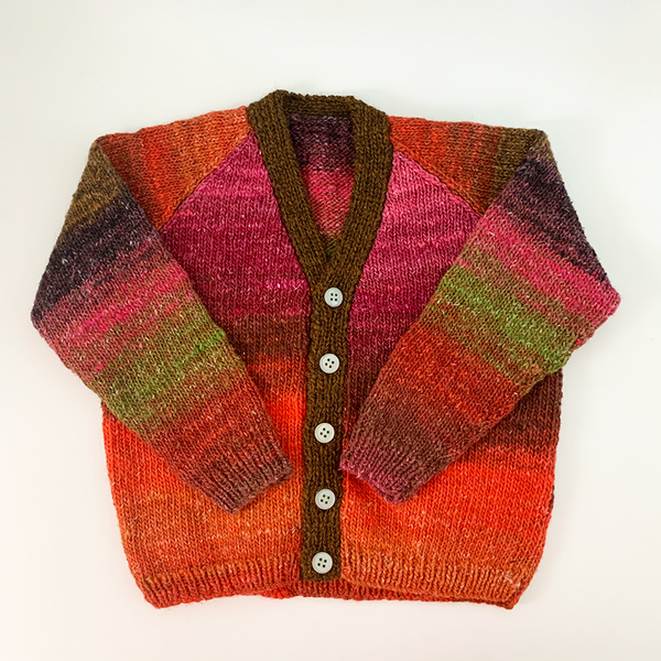 Hand Knit Classic Cardigan - Multicoloured Gradient Teal Button
