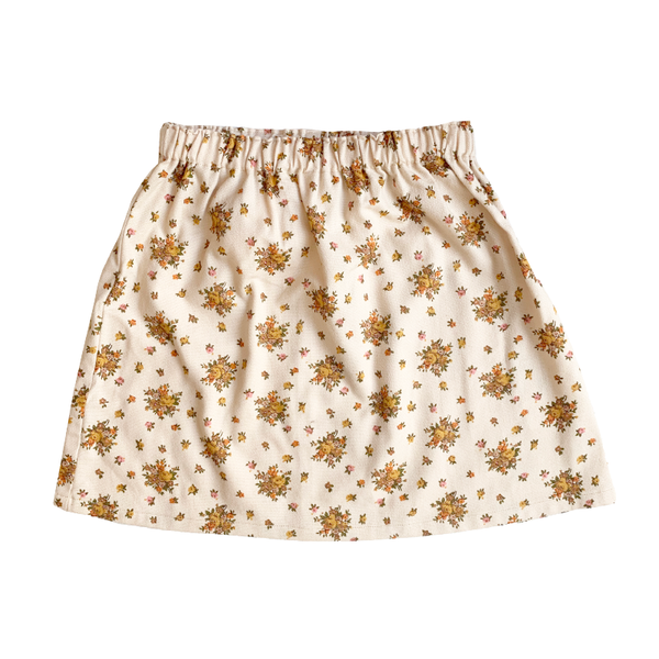 Shorties Floral Skirt - Beige With Mustard Flowers