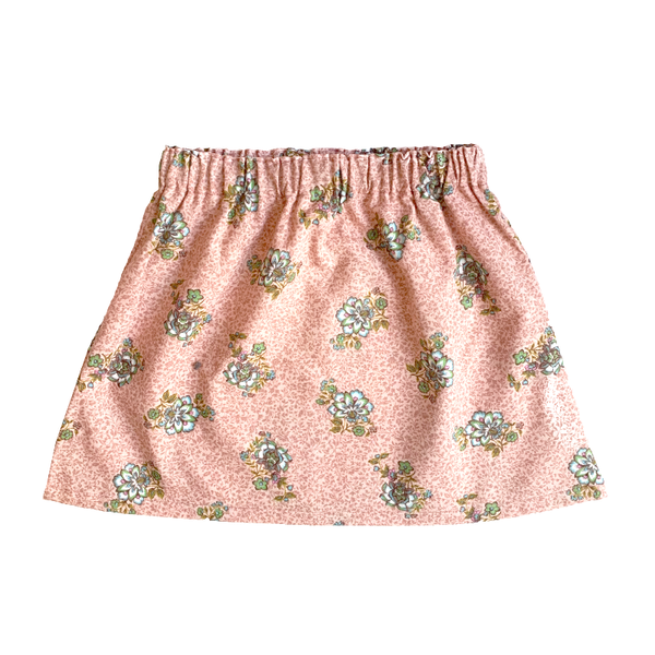Shorties Floral Skirt - Pink With Blue Flowers