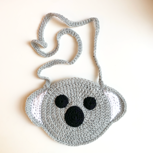 Hand Knitted Koala Handbag - Light Grey