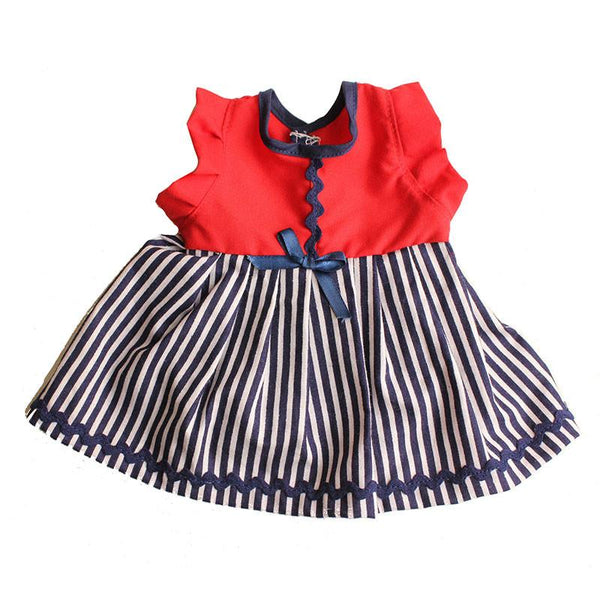Dolls Dress & Bloomer Set  - Red Top and Navy Stripe