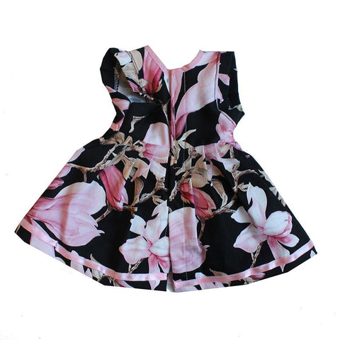 Dolls Dress - Black with Floral Print large