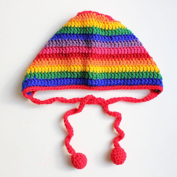 Crochet Bonnet Rainbow Stripe