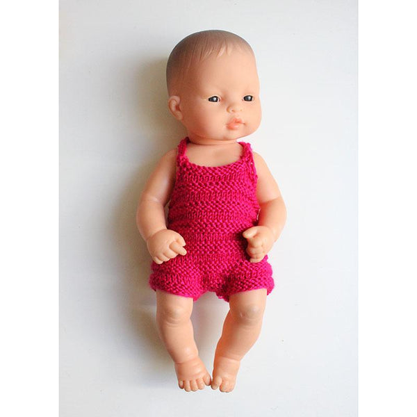 Dolls hand knitted retro 50s playsuits - Pink