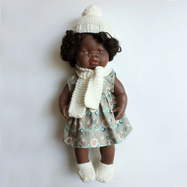 Hand Knitted winter beanie scarf and bootie set for Miniland Dolls