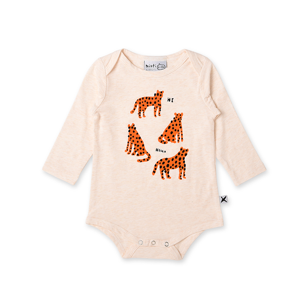 Minti Friendly Cheetahs Onesie - Cream