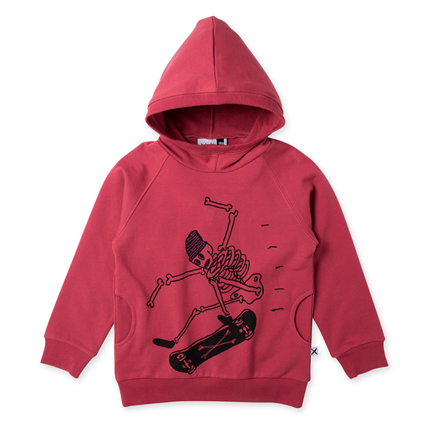 Minti Skeleton Skater Furry Pocket Hood - Rusty Red