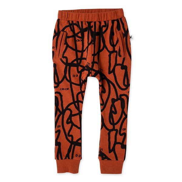Minti Messy Marker Trackies - Burnt Orange Marle