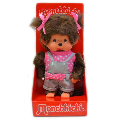 Monchhichi Doll - Pink Polka Tee and Overalls