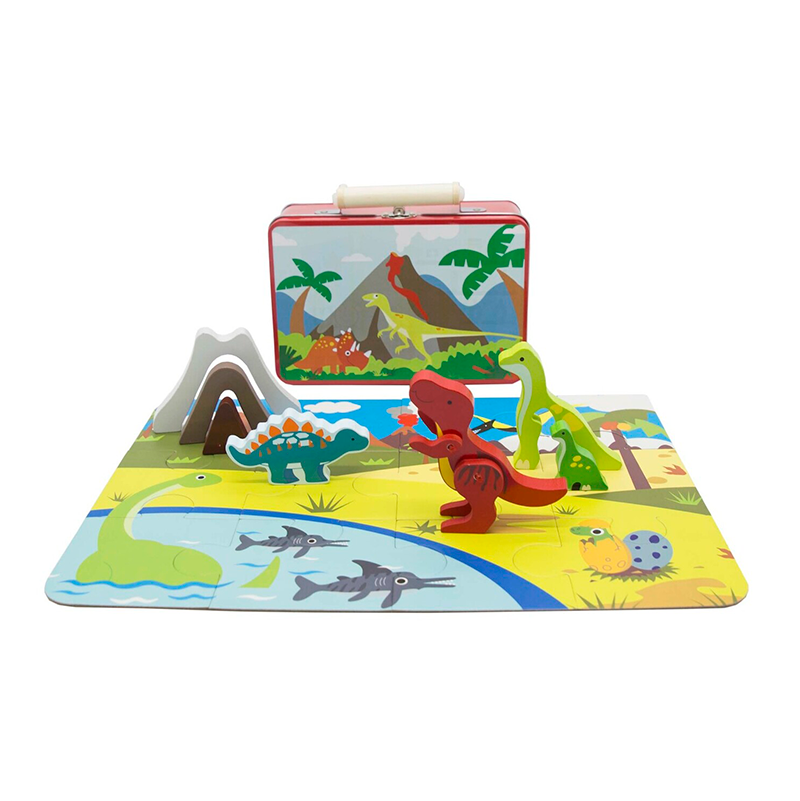 Wooden Dinosaur Playset Tin