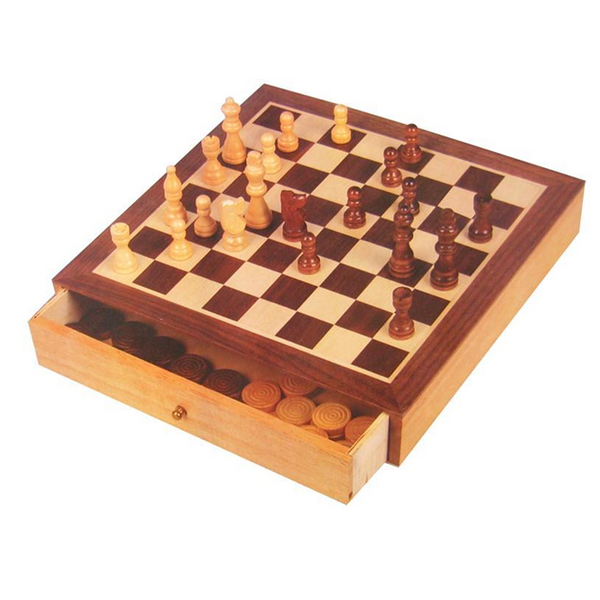 Wooden Chess & Checkers With Drawers