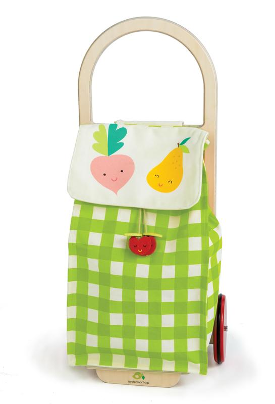 Gingham Shopping Trolley w Fruit/Veg