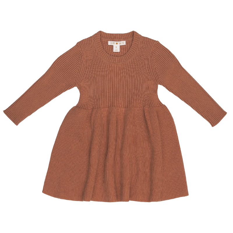 Grown Ribbed Dress - Terracotta Rose