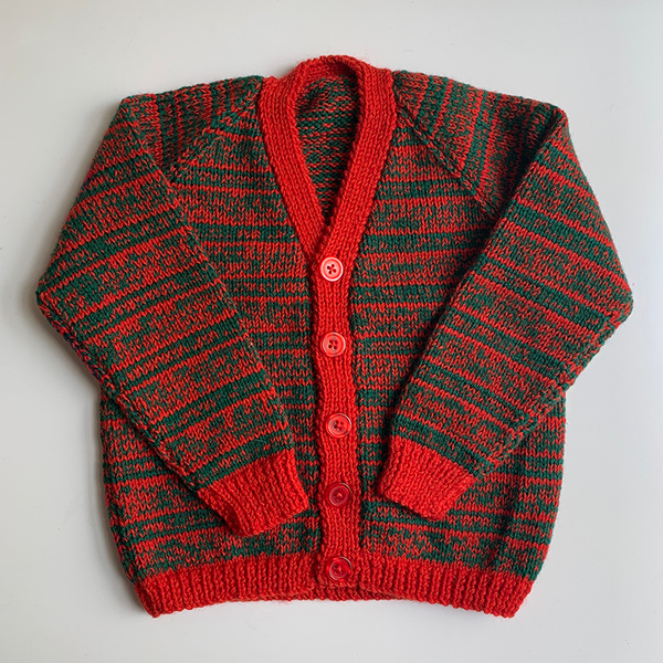 Hand Knit Classic Cardigan - Red/Green