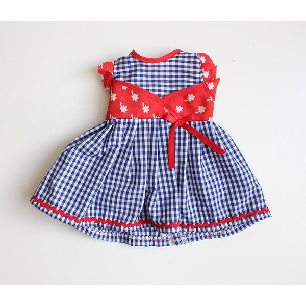 Dolls Dress & Bloomers Set - Blue Gingham w/ Red Kimono Upper