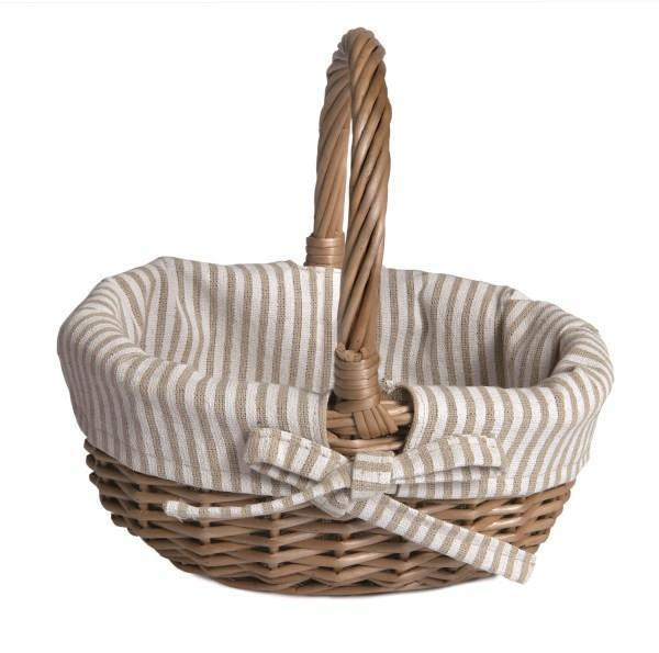 Basket with White and Beige Striped Fabric