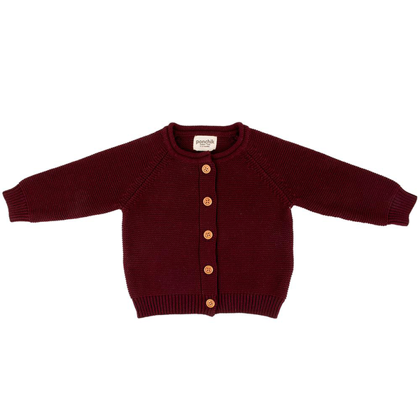 Ponchik Cotton Knit Cardigan - Mulberry