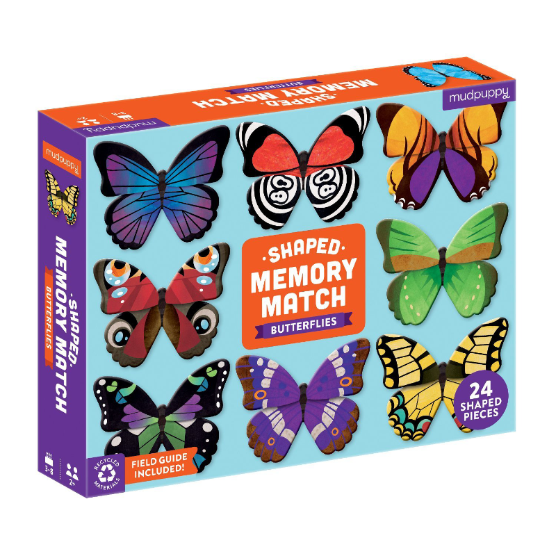 Mudpuppy Shaped Memory Match - Butterflies