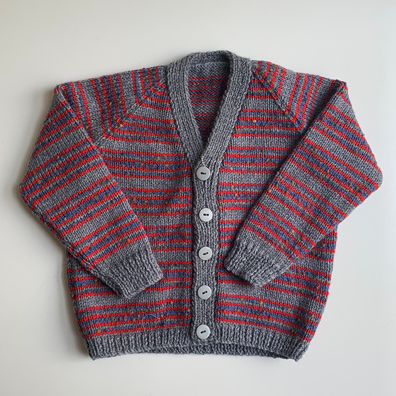 Hand Knit Classic Cardigan - Grey/Red Blue Stripe