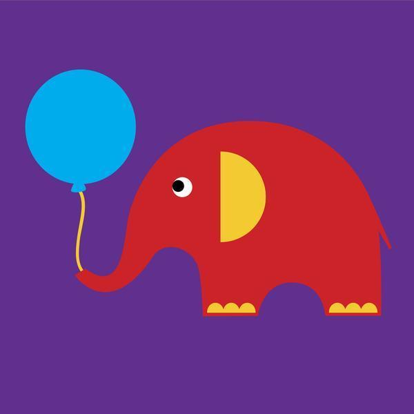 Scoops Card - Elephant with Balloon