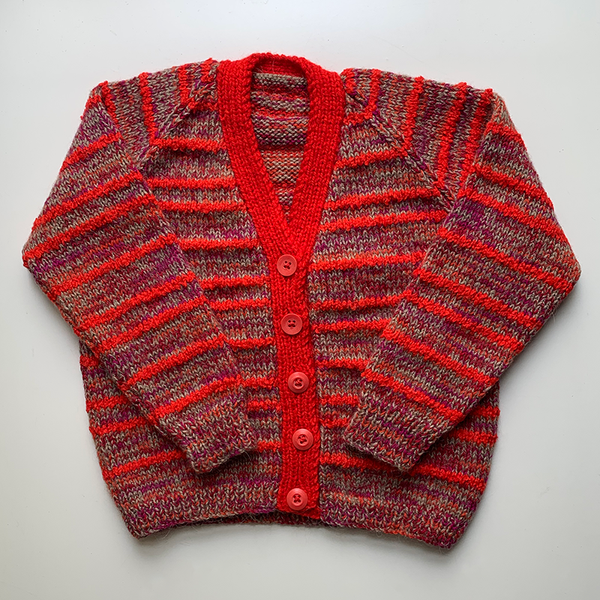 Hand Knit Classic Cardigan - Red Stripe