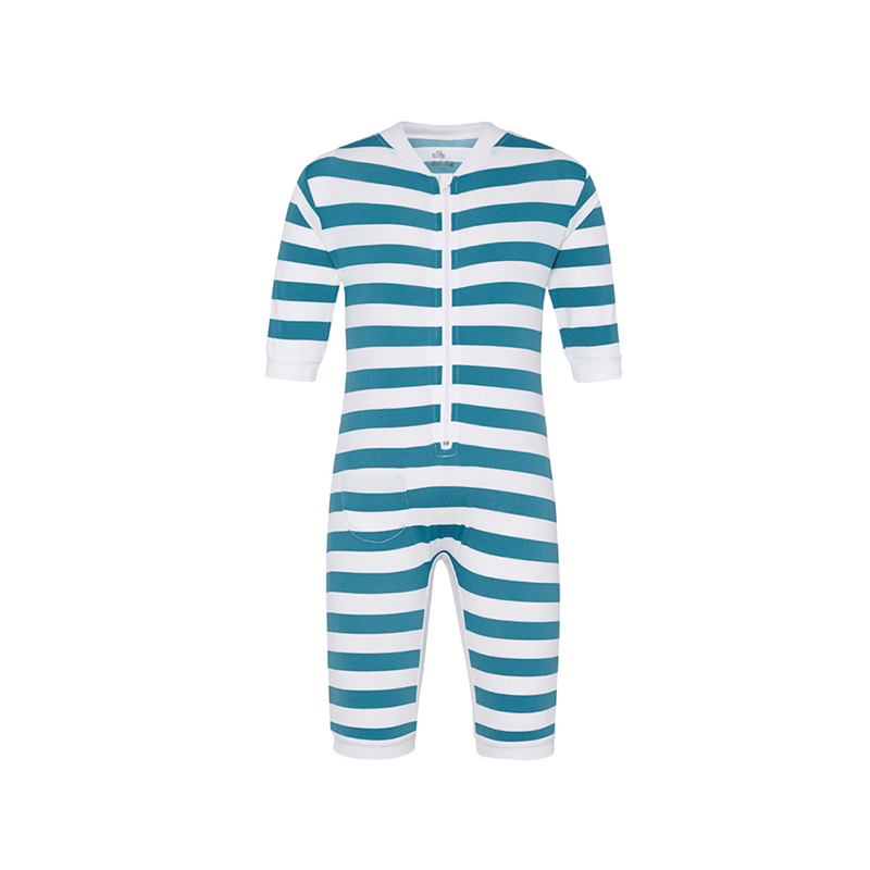 Alfie and Nina - All in One Zip up Rashie Teal Stripe