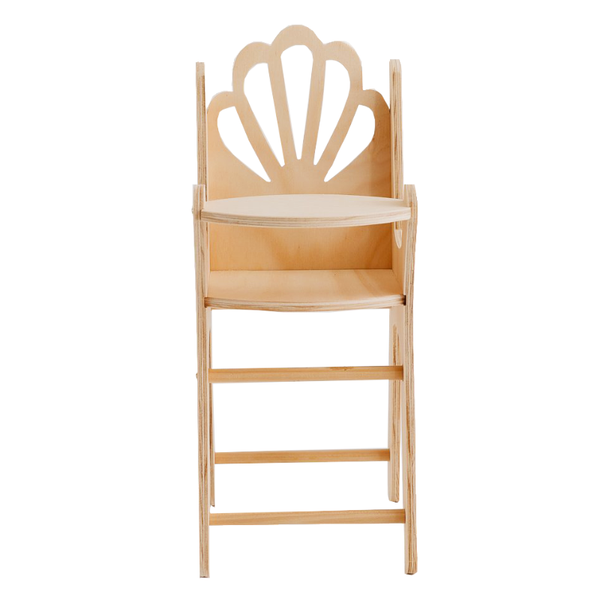 Pretty In Pine Shell Dolls Highchair