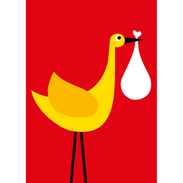 Scoops Small Card - Red Stork