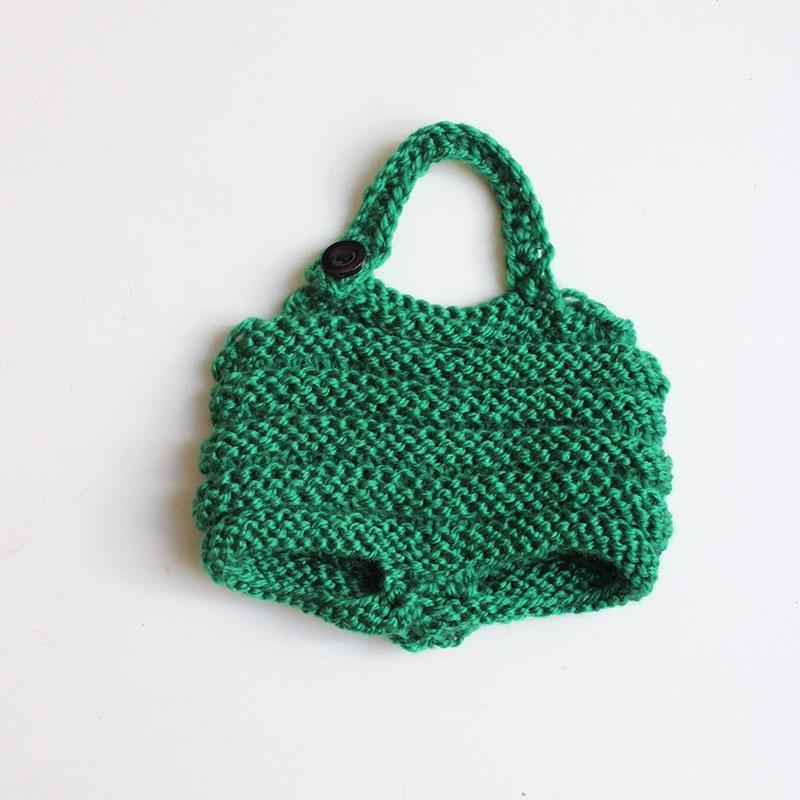 Hand Knitted Doll Jumpsuit - Green w/ Button