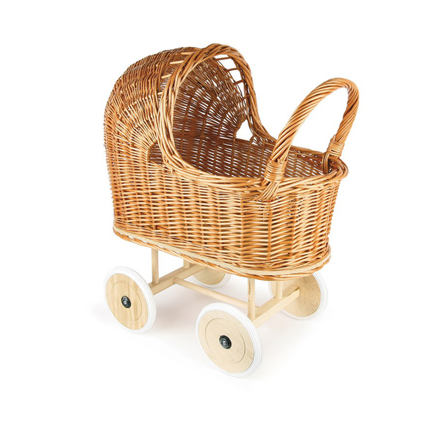 Wicker Dolls pram handmade ethical toys for Dolls Miniland Dolls