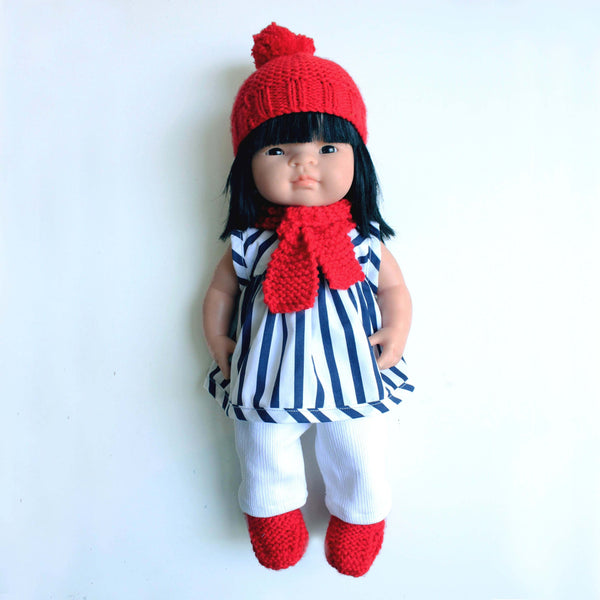 Doll's Winter Knit Set - red