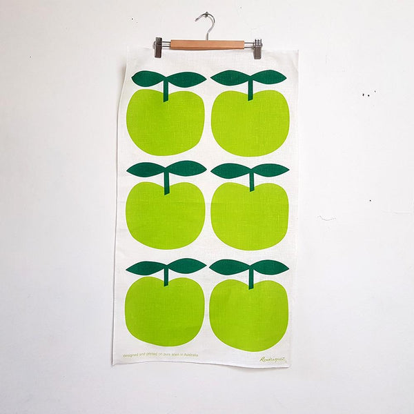Australian Made Linen Wall Hanging - Green Apples