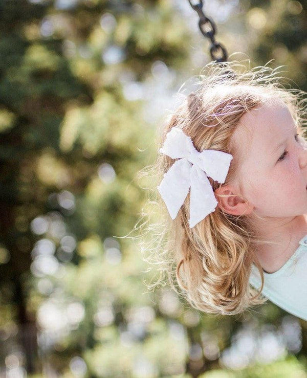 Dotty Dandelion Party Bow Clips - White Dot