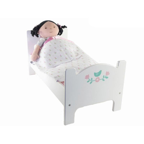 Mentari Dolls Bed with floral details , white wood bed for Dolls