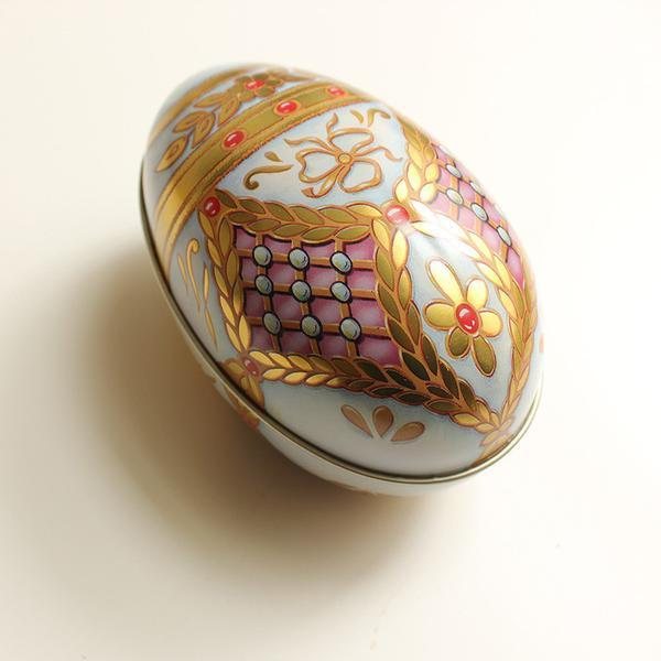 Easter Egg Shaped Tin - Russian White