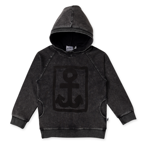 Minti Boxed Anchor Pocket Hood - Black Wash