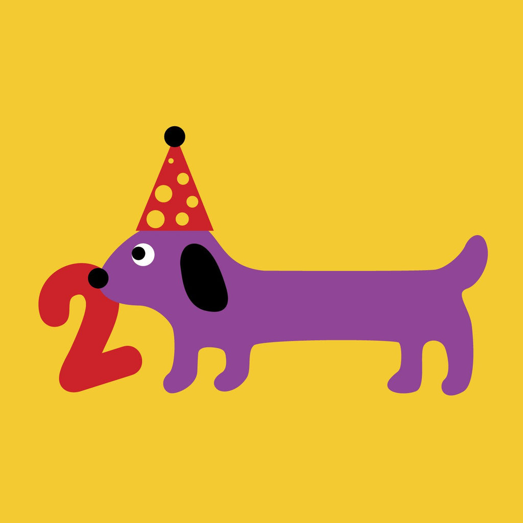 Scoops Card - Age 2 Sausage Dog