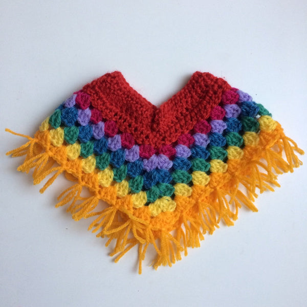Hand Crochet rainbow dolls ponche for Miniland and American girl Dolls