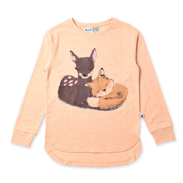Minti Forest Friends Tee - Apricot Marle