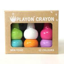 Playon wax crayons are certified non-toxic, stain free and stackable. The wide design makes them easy for little fingers to grip.