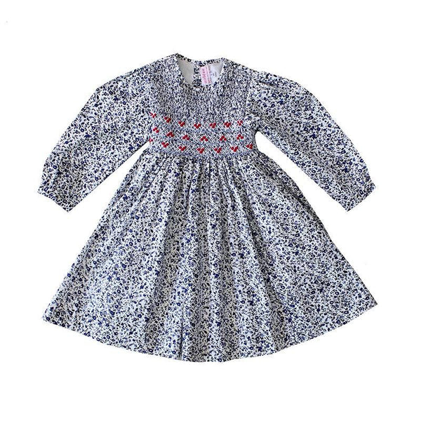 Handmade traditional Smocked Dress - Blue Floral